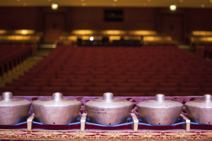 Row of reyong in the Bucknell theater