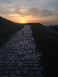 Sunset and road leading up to Olympiaberg