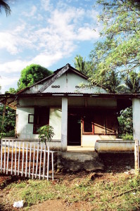 A dilapidated house in Manado