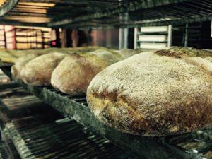 Baked bread cooling in racks